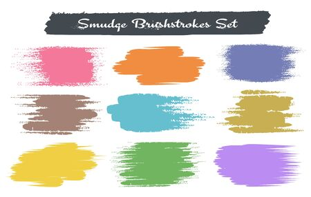 Grunge brush traces. Hand painting color strokes isolated on white background, vector colored swatches patches