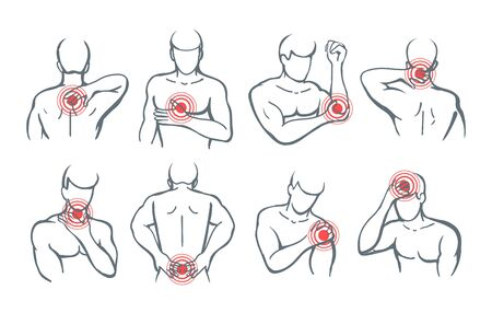 Vector body painful parts. Pain and trauma illustration images with red circles icons on man shoulder and back, arm and neck disease symbols