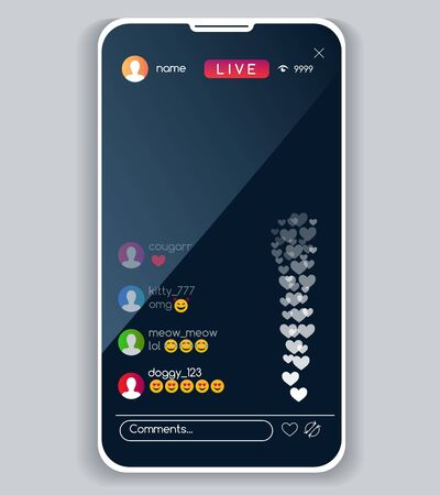 Mobile streaming interface. Live video stream app ui, social media phone screen, touch device watching display living mockup, vector illustration