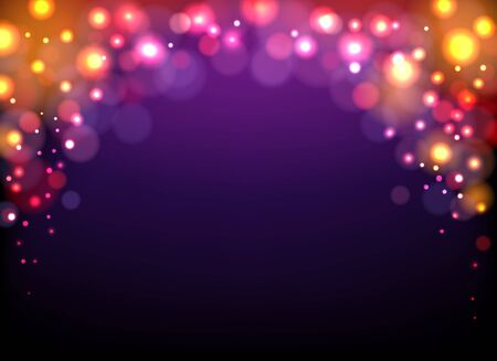 Shiny violet festival background. Yellow blurred lights on dark blue vector illustration, magical purple pattern with golden bokeh sparkling flares for luxury concepts
