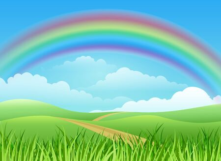 Rainbow landscape cartoon background. Meadow paths across greenery fields cartoon graphics, outdoor cute rainbows sunny nature warm day vector view