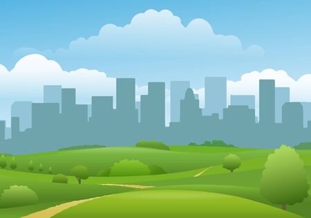 Summer city landview. Town buildings and beautiful green land panorama landscape, spring path to urbanization cityscape silhouettes, cartoon footpath to downtown horizon