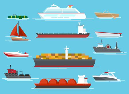 Vessel set. Traveling shipping vessels and transport like cargo ships, sailboat, fishing boats, cruiser and yacht or speedboats vector set