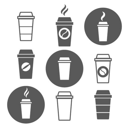 Paper coffee cup icons. Vector disposable take away coffee cups with plastic lid and coffe beans