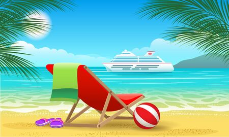 Cruise vessel and beach. Summer luxury vacation landscape with beautiful ocean ship for tropic travel vector promo poster