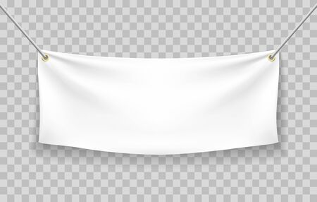 Blank fabric banner. Vector textile canvas banners mockup, fabrics texture white folding empty horizontal advertisement template isolated on transparent background Vektoros illusztráció