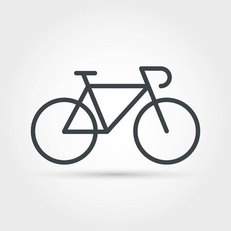 Bike minimal outline icon. Isolated vector bicycle object, journey biking sign, leisure race symbol, healthy fitness and adventure summer cycle emblem