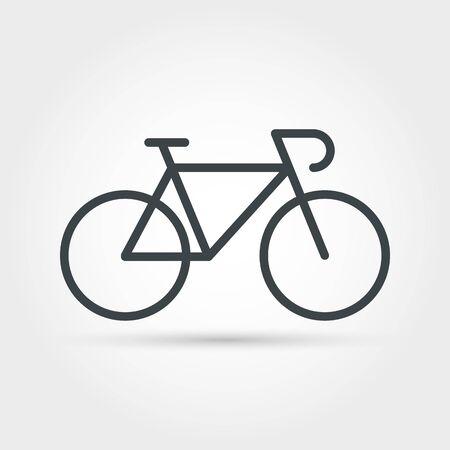 Icône de contour minimal de vélo. Objet de vélo vectoriel isolé, signe de vélo de voyage, symbole de course de loisirs, forme saine et emblème de cycle d'été d'aventure