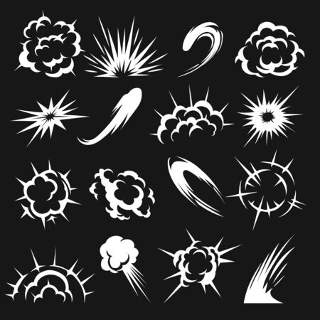 Cartoon motion flash effects. Video games animation clipart, explode blast speed effect set, funny speeding clouds shapes