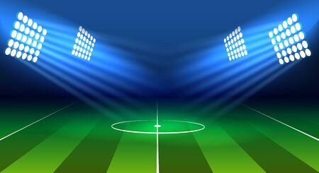 Soccer lamp stadium. Football green field, bright lamps lights and dark blue sky vector illustration, projectors lighting over footballs gaming arena, international ball game background