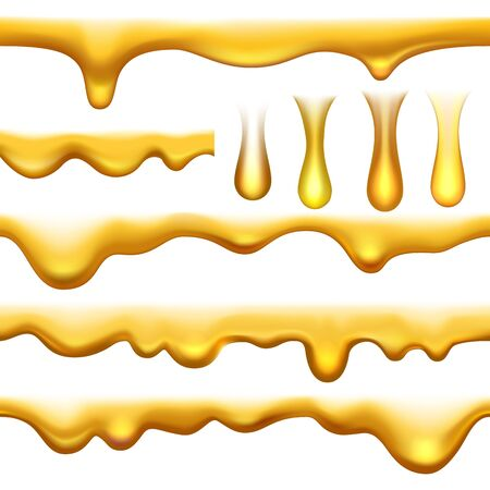 Vector honey tastiness sweet drips. Natural gold syrup isolated on white background, delicious yellow sauce or desserts oil, dripping horizontal seamless streams Фото со стока - 147460011