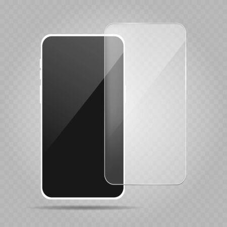 Smartphone protection screen. Vector mobile phone hardness protect object, telephone screenprotector, screens protector design Ilustração Vetorial