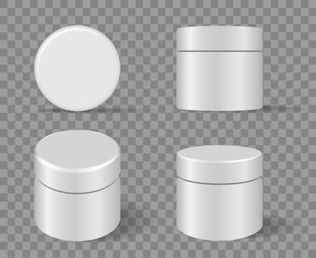 Cosmetic rounded package set on transparent background. Round glossy cream cosmetics plastic canister, white blank serum jar, circular clear packaging box