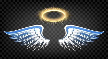 Angel wings with nimbus. Heaven angels white wings isolated on transparent background, cute cartoon drawing angelic feathers and holy halo for soul funeral