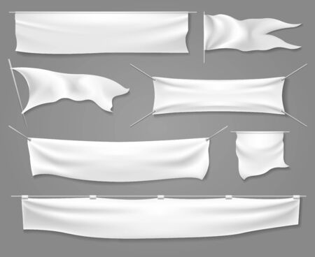 White textile banners and flags. Blank advertisement silk sheets or fabric label templates, canvas horizontal banner signs and flag mock up set