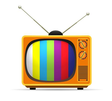 Old vector vintage colors tv. Retro color entertainment television screen isolated on white cartoon tele broadcasting frame object with colored watches scheme and antenna element Illustration