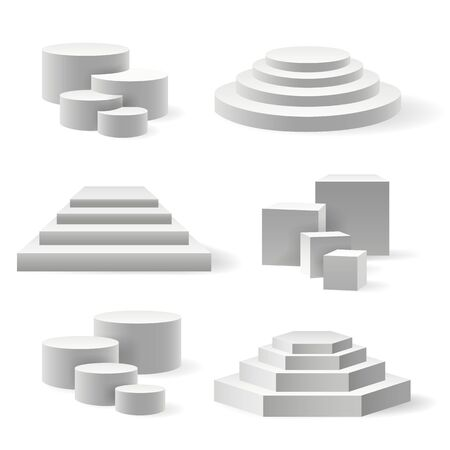 Circular podium and stairs pedestal. Rounded base or 3d speak platform set, white interior stage or sport winner and party event arena on white, circle presentation empty showroom block 矢量图像