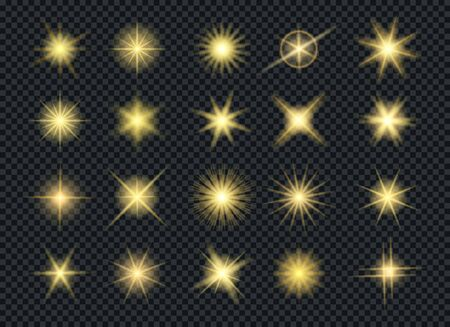 Sunshine glowing gold stars effects. Glow lightin star set isolated on transparent background, shining starlight particles for christmas, lens flare lights effect elements