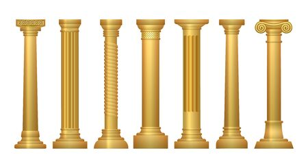 Gold antique columns. Palace or opera column set isolated on white background, vector carving temple facade antiques golden vintage greek building architectural elements Illustration