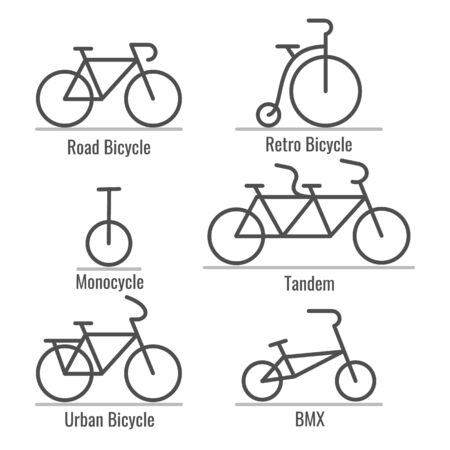 Bicycle types collection. Bicycles vector icons, bicyclers machinery signs, vintage and modern outlines bike black signs, cycle history, old unicycle, tandem city and bmx bikes models