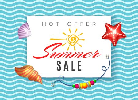Hot offer summer sale. Hot season promotional poster vector template, promotions advertisment summertime shopping offer tag, sun promotion and advertise discount brochure