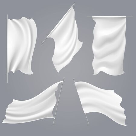 Realistic white flag mockups. Blank fabric vector flags, empty cloth wind waving banners isolated templates
