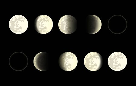 Moon phases on black background. Full and half moons with craters, new and old crescents on dark sky isolated  イラスト・ベクター素材