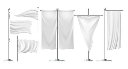 Advertising flags on stands. White textile sheet standing banners for beach promo, blank silk ads flag mockups vector illustration, folding banner tampletes for exhibitions and events