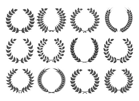 Branches with leaves wreath set. Vector illustration ornament of nature floral collection, plant elements leaf, olive, branch, vine, flower isolated on white background
