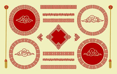 Clouds in chinese style. Traditional oriental ornaments of red and gold color for frames and borders elements. Graphic decorative art with brushes in asian festival style