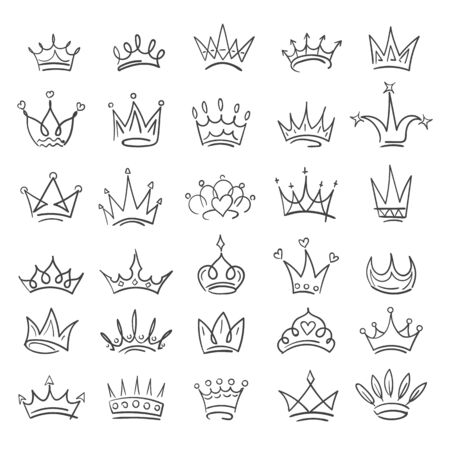 Doodle crowns. Hand drawn jewelry symbols of queen and prince, sketch elements of imperial symbolism, vector illustration tiaras isolated on white background Vectores