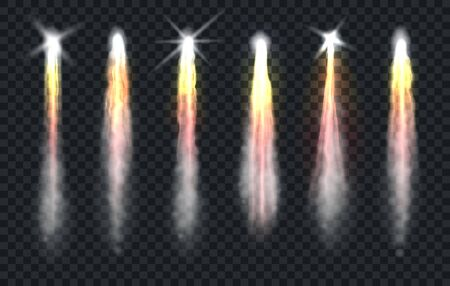 Rocket smoke. Realistic effect of fire and smoke from launch spaceship, jets of smoky air after launching space transport, vector illustration effects isolated on transparent background