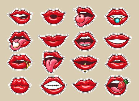 Lips stickers. Cartoon kisses of smiling girls with dotted borders, comic illustrated of laugh and smile, lick lips and biting fruits and jewelry isolated on grey background