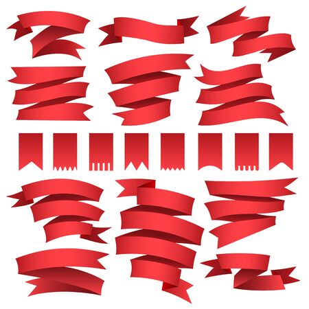 Red flags and ribbons set. Decorative satin banner materials, blank tape elements, classic vector illustration of curved flag forms isolated on white background Vettoriali