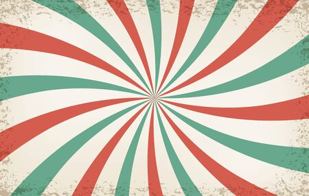 Pinwheel circus background. Vintage carnival backdrop, circus light color pattern, sunlight beams, circular stripes entertainment poster texture Çizim