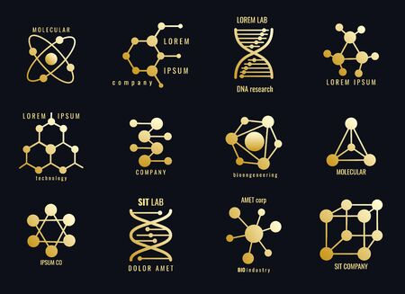 Molecules logotypes. Golden molecular structures, hexagons and grids for logo formulas of microbiology and biochemistry, biotechnology and chemical, macromolecules isolated on black