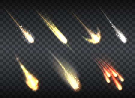 Falling comets set. Realistic universe objects, glowing sparkles of meteor, asteroid and comet, shooting star lights in cosmic space on transparent background