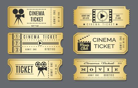 Cardboard vintage cinema tickets. Realistic golden show ticket set. Hand drawn retro premium gold chairs coupons to movie film or event, vector illustration isolated on grey background