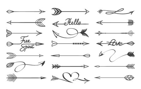 Curved arrows sketch. Hand drawn decorative black doodle arrow dividers, vector illustration ornamentals vintange scribble arrows, line separators isolated on white background
