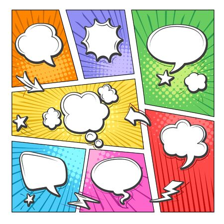 Comic book bubbles layout. Colorful cartoon comics frames for scenes and words, comical art online dialog layout in bubble, vector illustrations of retro scrapbook fun talk labels