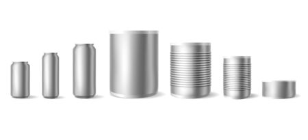 Realistic tin cans. Mockups of empty metallic cylinders, cylindrical container for food or drink, vector illustration of aluminium smooth and ribbed cans isolated on white background