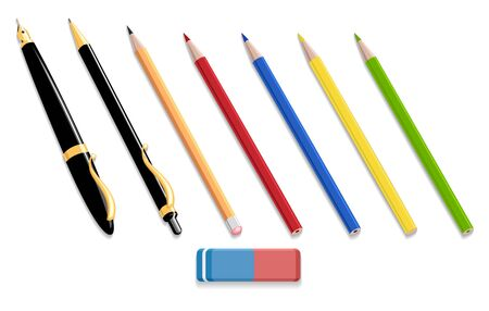 Pens and pencils isolated 3d objects. Different stationery for writing and drawing, pen and pencil tools set vector illustration of office supplies items on white background