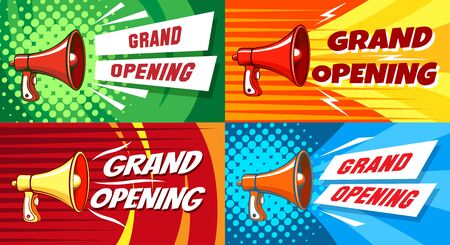 Opening megaphone. Invitation posters with megaphone speaker, premium invitations cards to festive event, ceremony and celebration, vector flyer of grand announcement