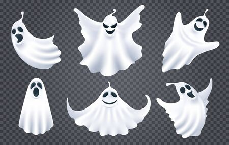Ghost spirits white silhouettes. Cartoon spooky monsters, deadly creatures with scary face shape, cute ghosts characters of horror, evil phantoms isolated on dark transparent background Vettoriali