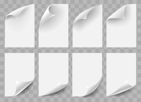 Curved empty paper sheets. Mockups of white twisted sheet documents with realistic shadow, vector illustration of blank paperwork book pages with curved corners isolated on transparent Vettoriali