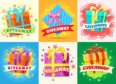 Giveaway winner poster. Prizes in boxes with ribbons, posters with reward in contest, cards with gifts for winners, vector illustration advert flyer with gift offers