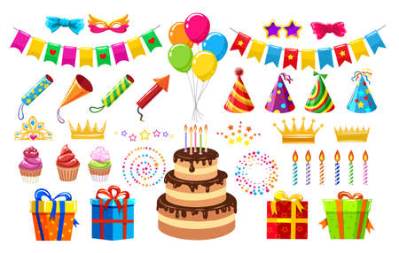 Birthday party items. Cartoon colorful different items for boys and girls for celebration events or banquets, vector illustration confetti, kids hats, cakes isolated on white background