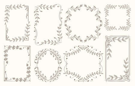 Floral frames branches line sketch. Branch with leaves frame set, borders from nature herbs vector illustration, plant elements and flowers ornaments decoration collection Vettoriali