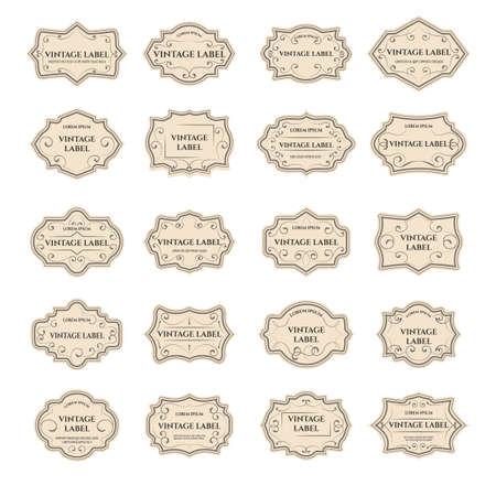 Vintage design shapes of badge frame set. Decorative ornaments of labels, elegant gold badges, pearl   elements, vector retro illustration for banner isolated on white background