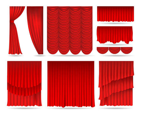 Elegant red curtains. Realistic decorative elements for theater, luxury open and close textile curtain set, vector illustration of fabric for opera interior isolated on white background